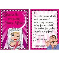 Karty na wieczór panieński - dla Panny Młodej.